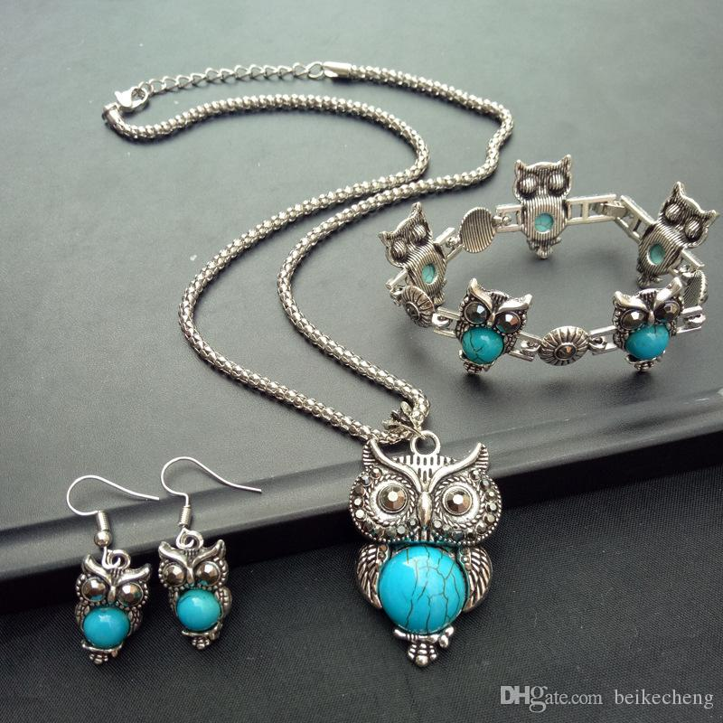 wholesale earring bracelet necklace turquoise sets big green owl charm necklace jewelry sets
