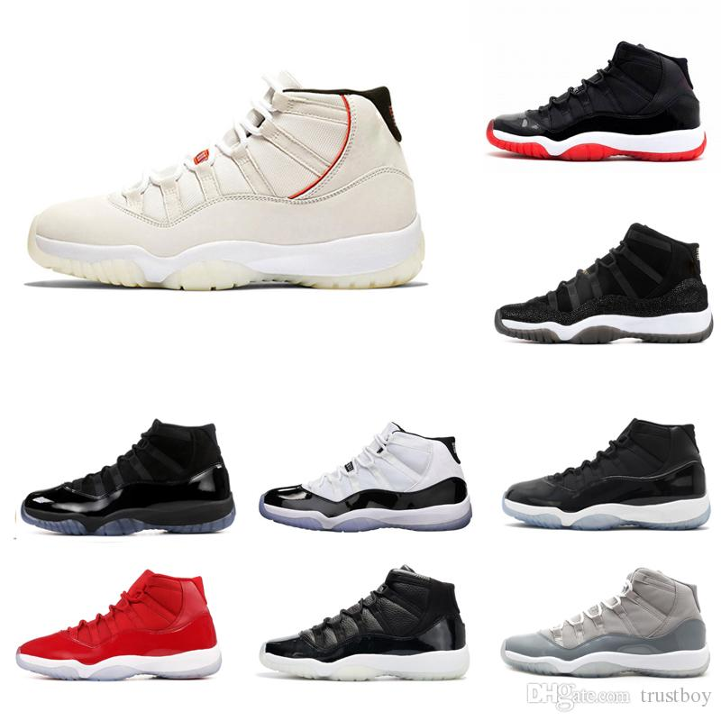 on sale 7b24b 5542b OG Slide Box 11 Basketball Shoes Platinum Tint Prom Night Gym Red Midnight  Navy Bred Concord Space Jam Gamma Blue Shoes 11s Sneakers