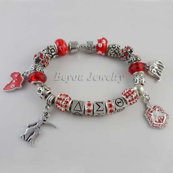 Newest Delta Sigma Theta Sorority Women and Men Letter Elephant Bead Bracelet 1 Pc Free Shipping