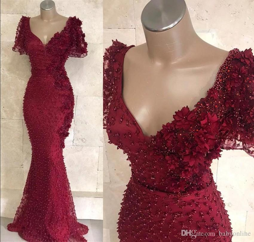6e5952d73182 Luxury Dark Red Arabic Evening Dresses Formal Gowns 2019 Short Sleeves V  Neck Beaded Pearls Long Vestidos Prom Gowns BC0955 Evening Dress Sale  Evening Dress ...
