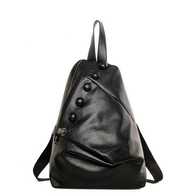 24a9a3e25a 2019 New Fashion Backpack Women Bag Quality Pu Leather Decorative Buttons  Buttoned Leather Shoulder Bag Chest Bag Large Capacity Backpacks Bags From  ...