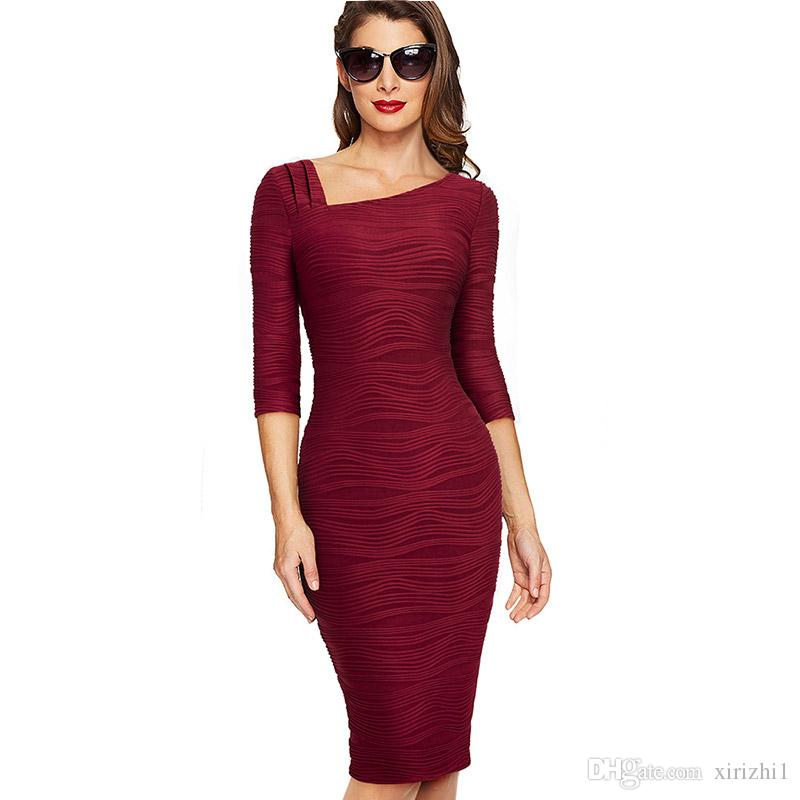New Arrival Office Lady Red Pencil Dress Autumn Three Quarter Sleeve  European Elegant Oblique Collar Bodycon Dress Sale Black Dresses Evening  Dresses Ladies ... d3909460f