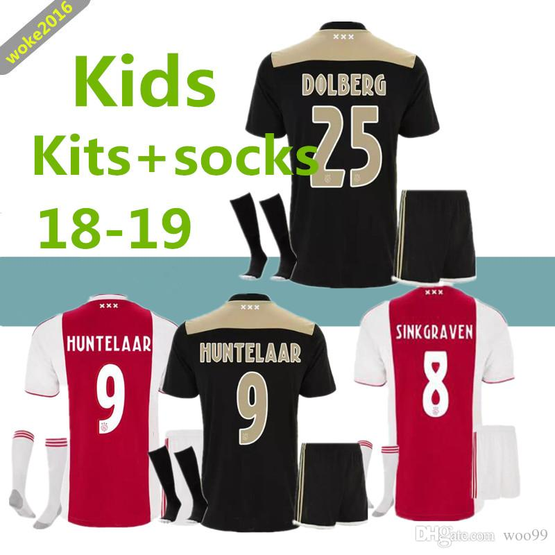 71ddbacb846 Ajax KIDS 2018 2019 Home Away Football Jersey Children s Suit + ...