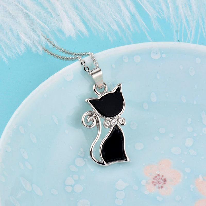 Fashion Girl Lady животных Black Cat Ожерелье Новая модель розового золота цвета серебра цепи Cat ювелирные изделия Лучшие подарки Xl263