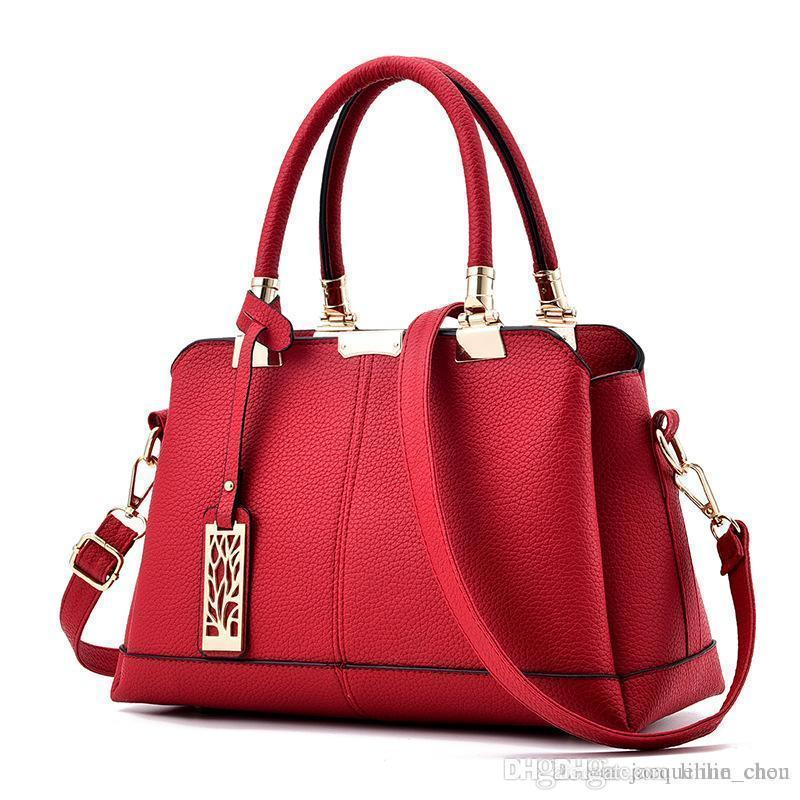 4795a78cc69f Lucky2019 Women Leather Handbags Elegant Messenger Large Capacity Red  Handbag One Shoulder Crossbody Bags Hobo Purses Leather Bags For Women From  Dresshoes