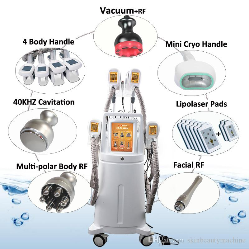 Newest ! Cryolipolysis Slimming Cryo Machine 4 Handles Fat Freezing Weight Loss 8 IN 1 Laser Lipo Cavitation Liposuction Fat Removal Device