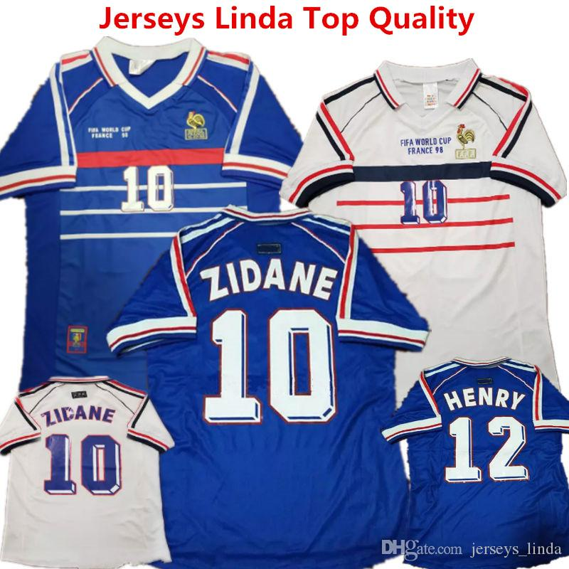 premium selection d8c40 b09c1 Soccer Jerseys 1998 France Retro Version Football Shirts ZIDANE HENRY  MAILLOT DJORKAEFF Classic Jersey Champion Memorial Mbappe Racing Suit