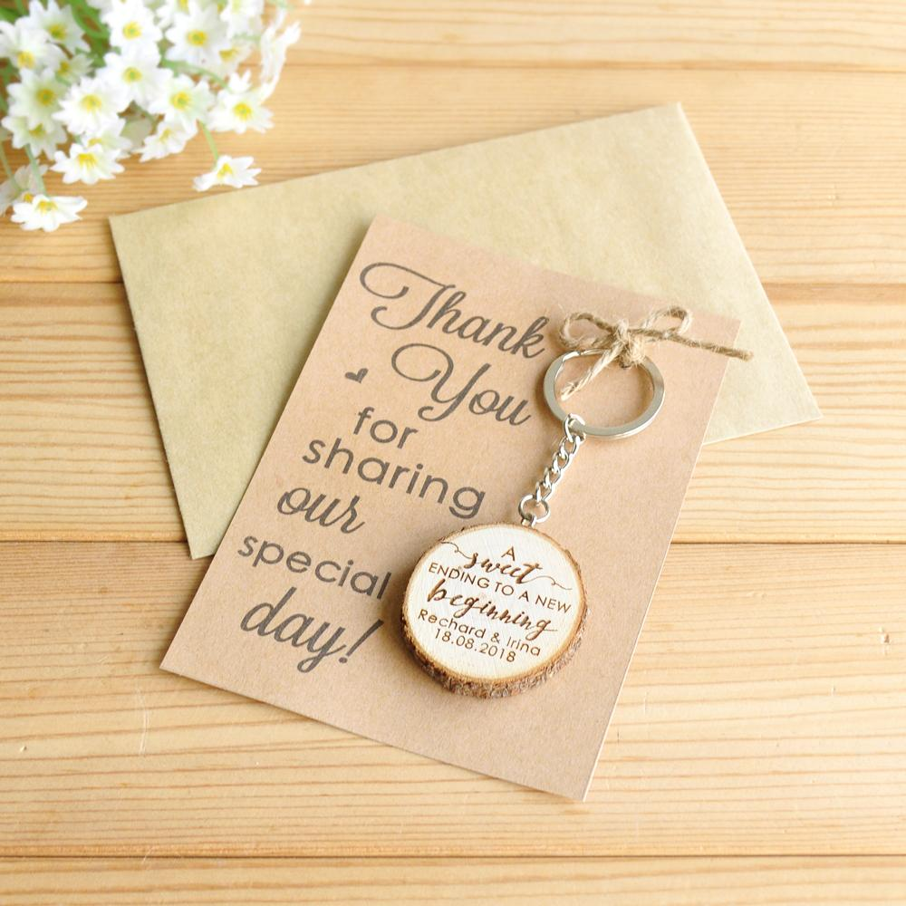 Thank You Gifts For Weddings: Personalized Wooden Keychain Key Ring, Custom Wedding