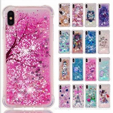 Cute Dynamic Cartoon Bling Quicksand Liquid Flowing Glitter Star TPU PC Phone Case Cover Shell For iPhone 6 7 8 Plus X XS XR XS Max