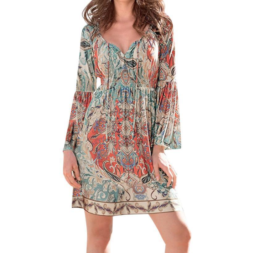 19d55baab7d6 Women Bohemian Dress Fashion Tie Neck Vintage Printed Ethnic Style Summer Shift  Dresses Flare Sleeve Short Dress #VE Modest Prom Dresses Dresses On Sale ...