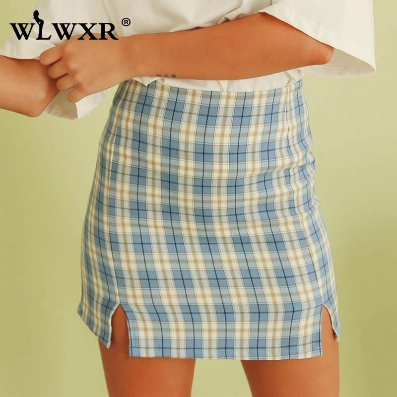 WLWXR Split Plaid Stampa aderente gonne corte donna vita alta mini gonna a matita casuale sexy estate pannello esterno dell'involucro Femminile 2020