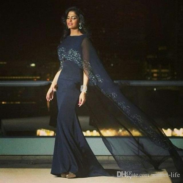 Elegant Sexy Black Mermaid Evening Gown with Lace Cape Saudi Abrabia Prom Dresses Long Dubai Formal Turkey Party robes de soirée Paris 2019