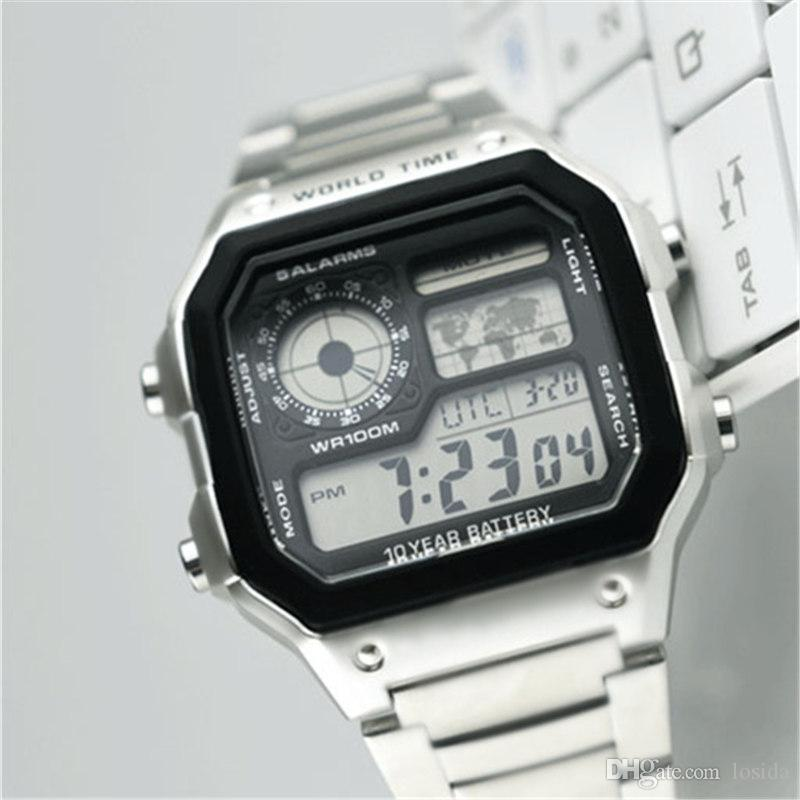 Designer Brand Stainless Steel Watches Luxury G Style Shock Mens Wrist Watch Water Resistant LED Square Dial Silver Rose Gold Men's Watches