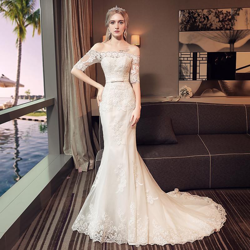 36a93937ac86a One Shoulder Fishtail Wedding Dress Bride Princess Dreamy Thin Middle  Sleeve Small Trailing Light Yarn Woman Vintage Mermaid Wedding Dresses  Wedding Dress ...
