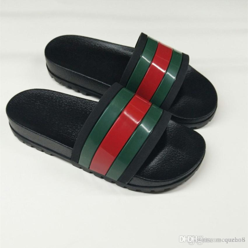 696f58e7aac0 New Arrive 19ssGUCCls Designers Shoes Black Rubber Green Red Web Slide  Sandal GG Slippers Beach Causal Slipper Dolce With Box Pumps Shoes White  Boots From ...