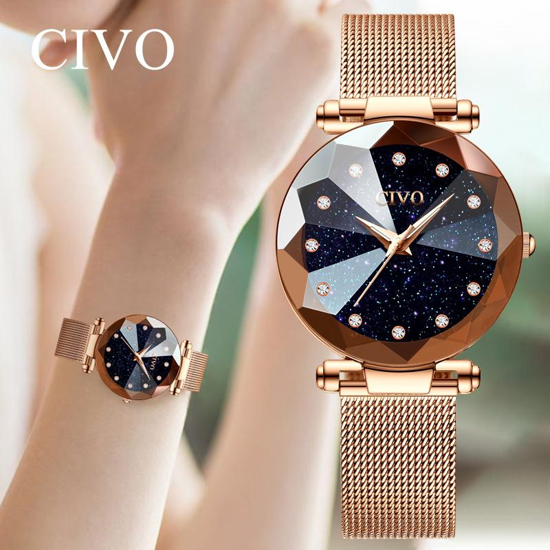 Civo Wholesale Price Ladies Crystal Watches Luxury Waterproof Rose Gold Steel Mesh Quartz Women Watches Top Brand Bracelet Clock Y19062402