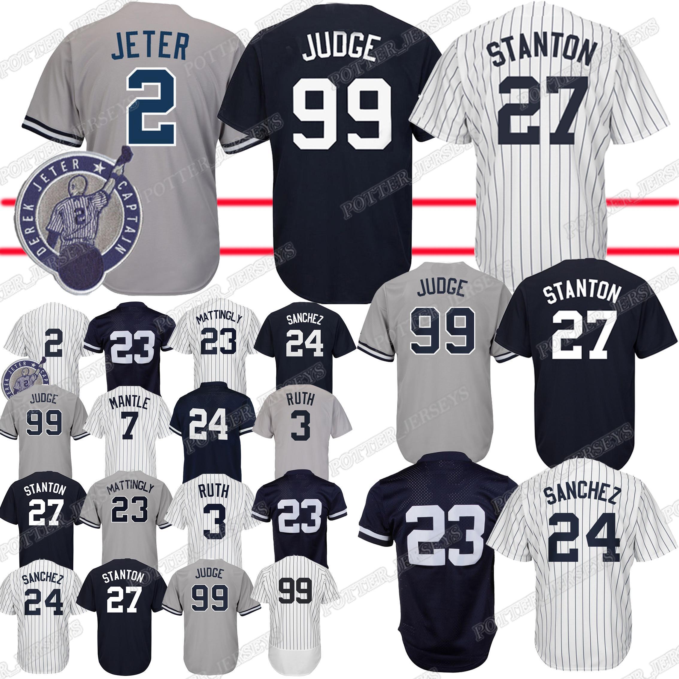 new product 90e90 67d50 99 Aaron Judge Yankees jersey 27 Giancarlo 2 Derek 24 Gary jerseys 3 Babe  Ruth 7 Mickey Mantle Baseball Jerseys