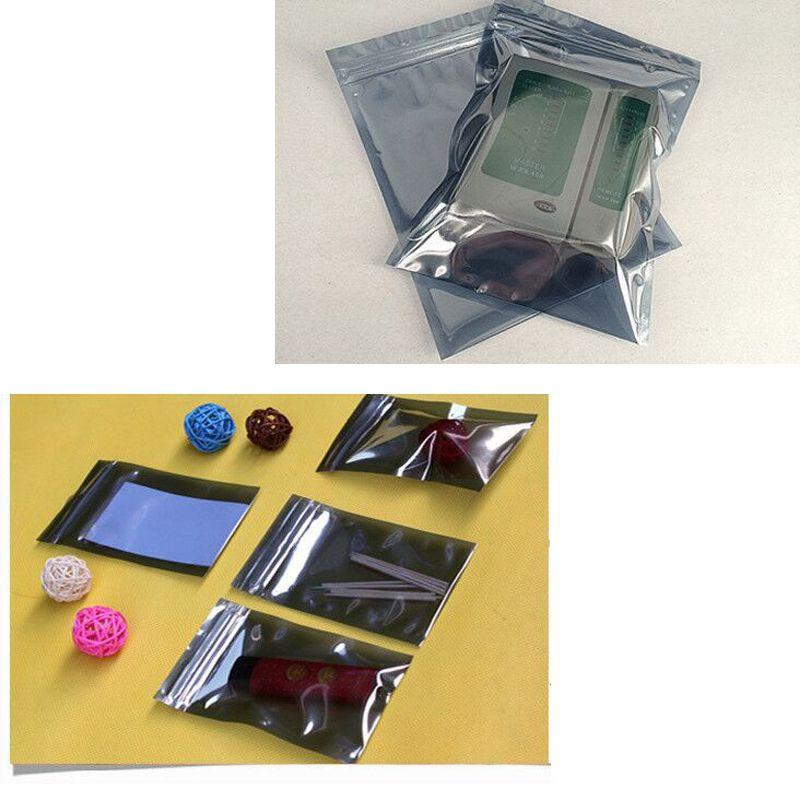 Antistatische Aluminium Aufbewahrungstasche Reißverschlusstaschen Wiederverschließbare statische Anti-Beutel für elektronische Zubehör Paket Taschen 200 Teile / satz