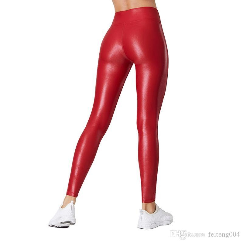 2019 Sex Skinny Shaping Yoga Pants Women Leggings Soft Leather Fitness Pants Sports Solid Color Tights Leggins Running #616803