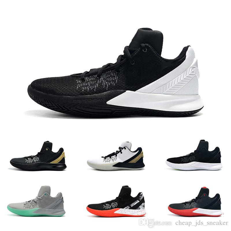 pretty nice 17d2f 07000 Men kyrie flytrap 2 basketball shoes low 5s Black white Gold Team Red  Yellow youth kids kyries irving ii sneakers tennis size 7 12