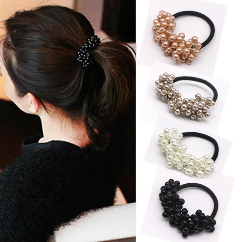 Fashion Girls Pearl Elastic Hair Bands Rubber Rope Headwear Women ... c55ee3363c4e