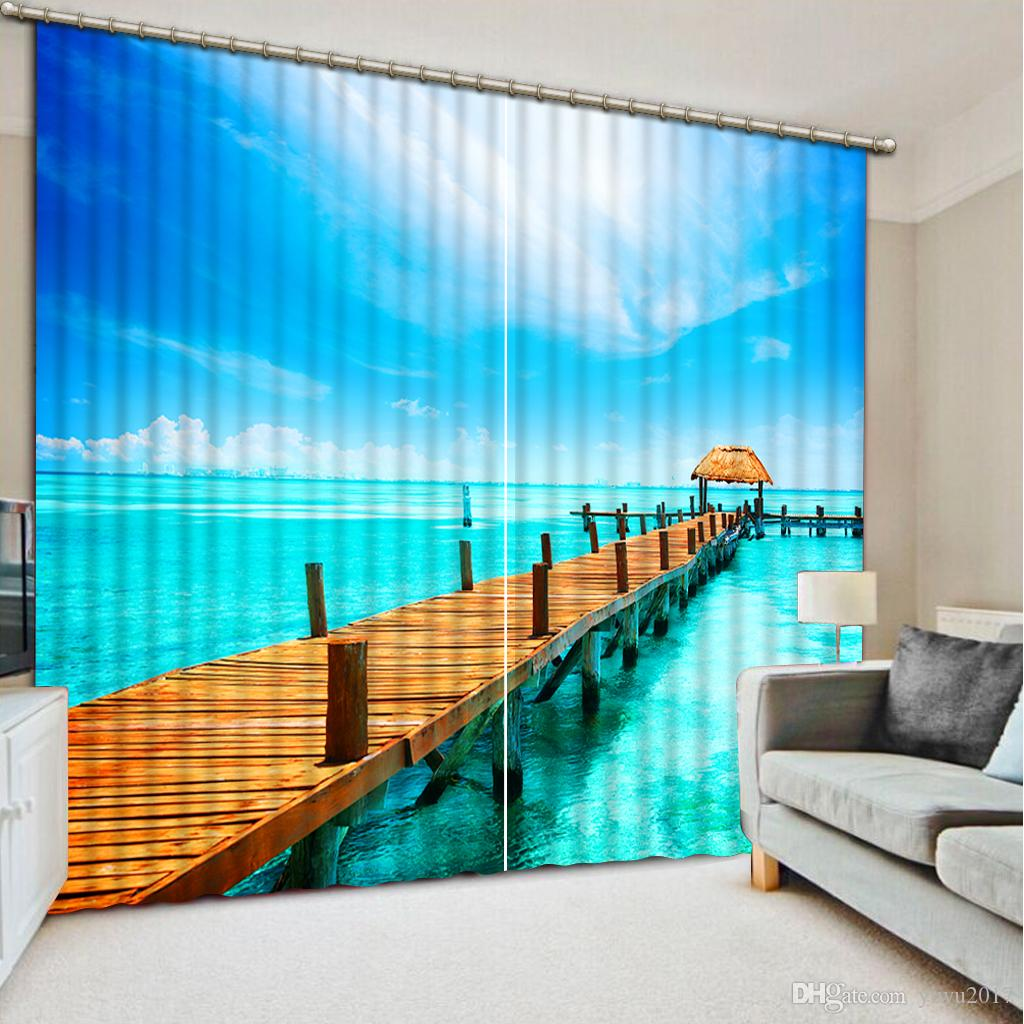 Luxury 3D Window Curtain living room Shower Hooks Boardwalk in beautiful big river Curtains blackout Tapestry Custom size