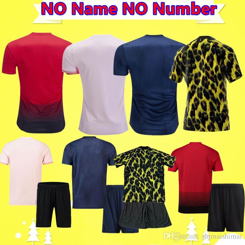 sale retailer 134eb d8113 Cheap NO Name NO Number FC United Soccer Jersey 2018 2019 POGBA LUKAKU  RASHFORD ALEXIS MAN MATA UTD Football shirt KIDS Kit boys