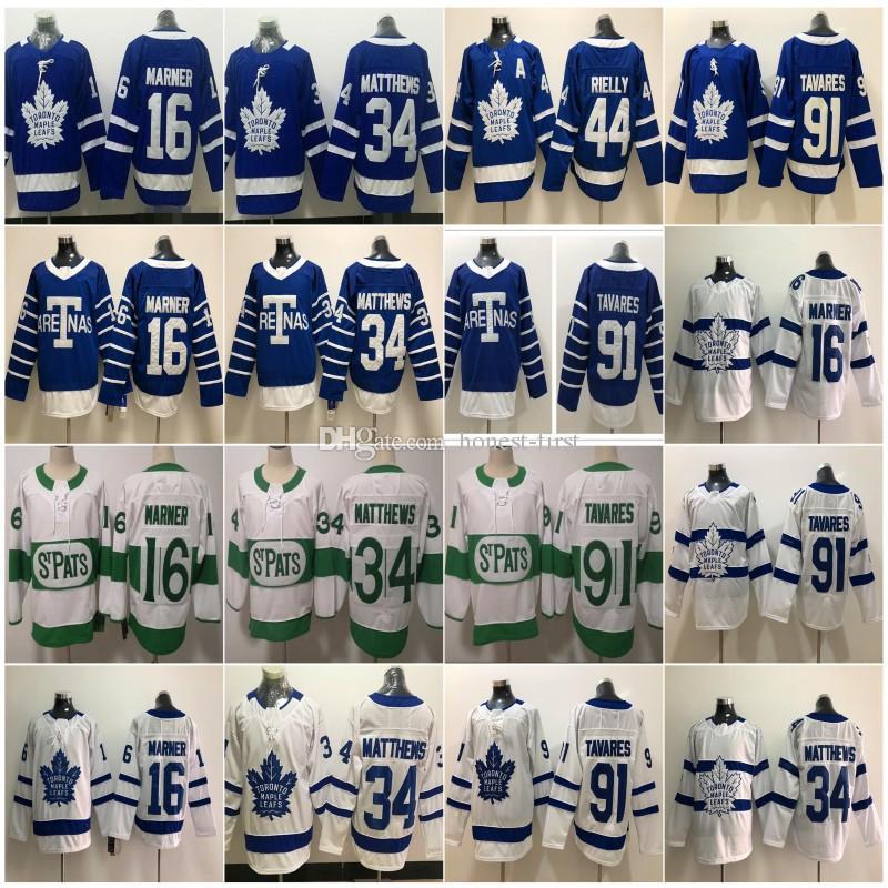 sale retailer df634 41f65 2019 2020 St. Pats Men s Toronto Maple Leafs #34 Auston Matthews 16 Mitch  Marner 29 William Nylander 91 John Tavares A Patch Hockey Jersey