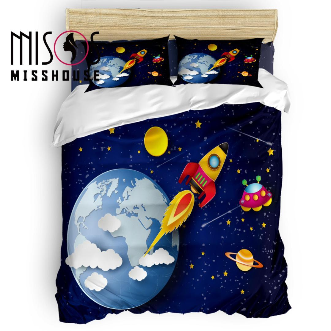 MISSHOUSE Galaxy Cartoon Rocket Universe Duvet Cover Set Bed Sheets Comforter Cover Pillowcases 4pcs Bedding Sets