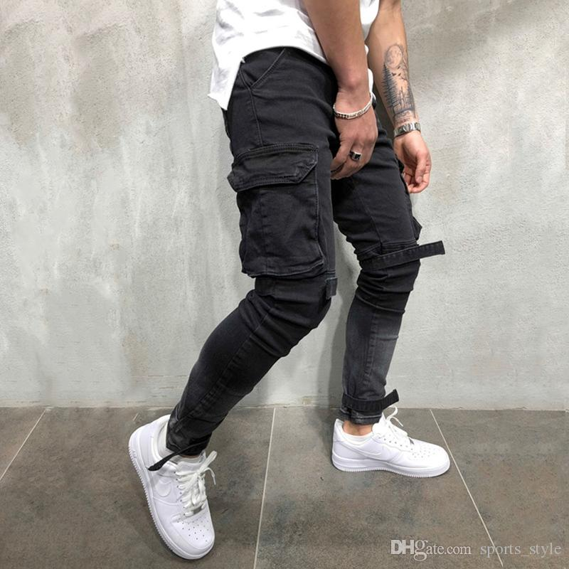Supply Skinny Biker Jeans Men Multi-pocket Bandage Slim Cargo Joggers Trousers For Men Motorcycle Hip Hop Streetwear Swag Denim Pants Online Shop Jeans