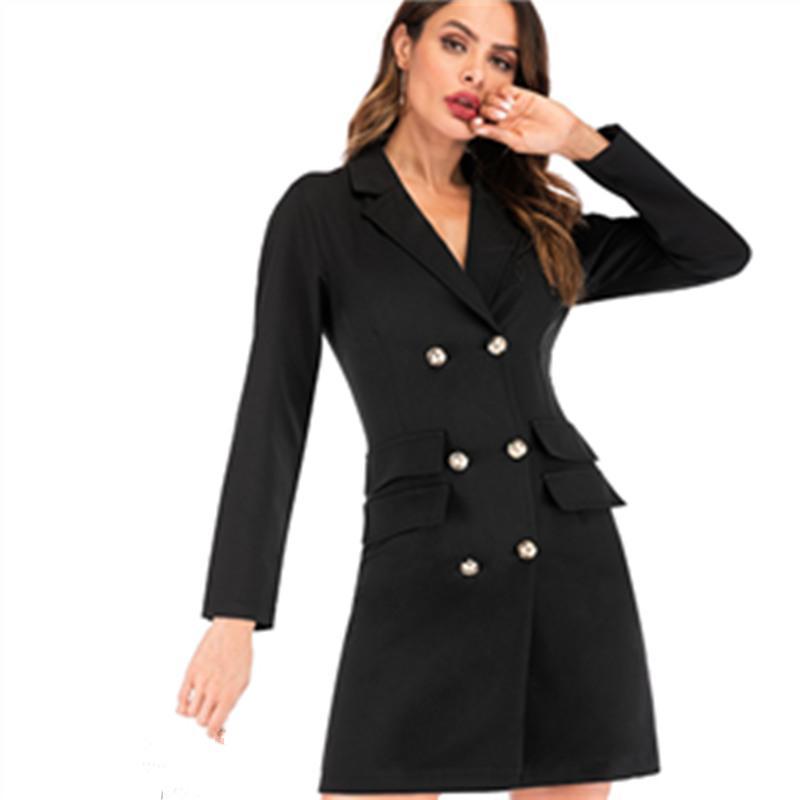 Spring Autumn Winter Suit Blazer Women 2019 Casual Double Breasted Pocket Women Long Jacket Elegant Long Sleeve Blazer Outerwear Suits & Sets Women's Clothing