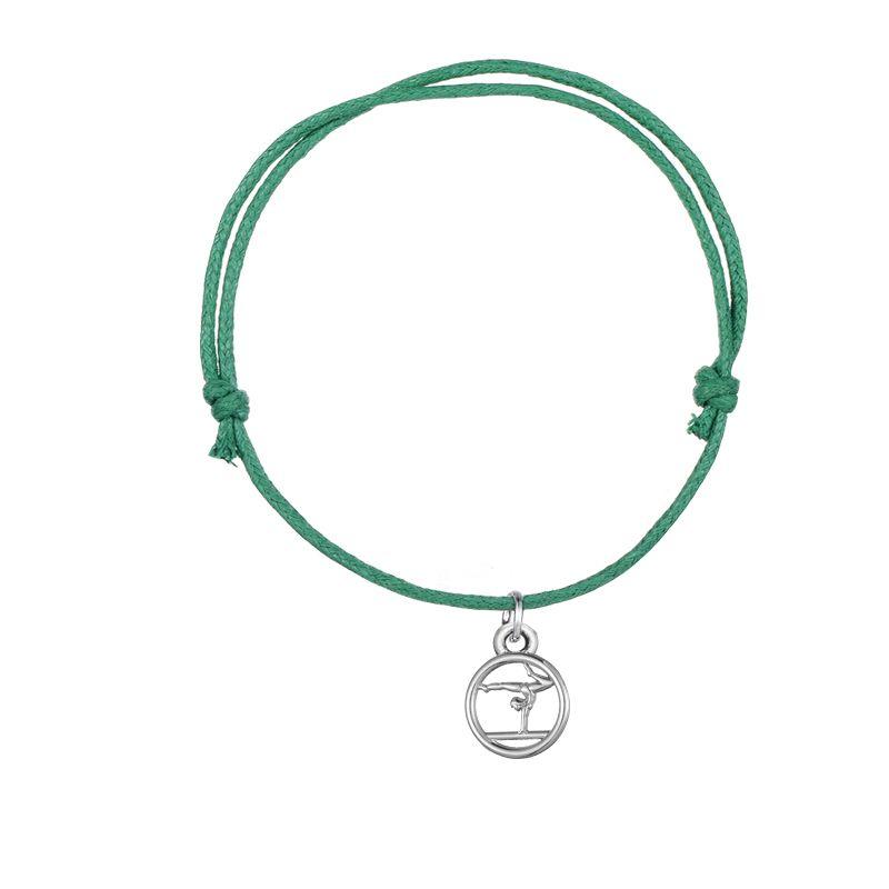 Skyrim 10 unids Gimnasia Olímpica Charm Bracelet Sporty Colgante Con Cuerda Colorida Ajustable Cordón de Cera Pulseras Joyería Regalo