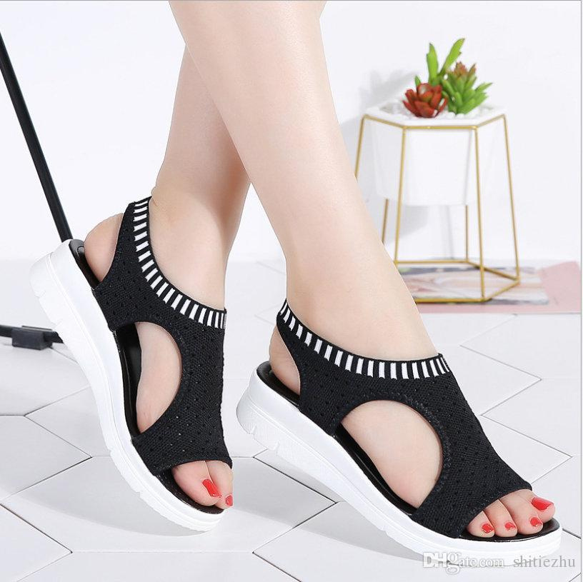 9220e8ce029a Women Sandals 2019 New Female Shoes Woman Summer Wedge Comfortable Sandals  Ladies Slip On Flat Sandals Women Sandalias White Black Heels Gladiator  Sandals ...