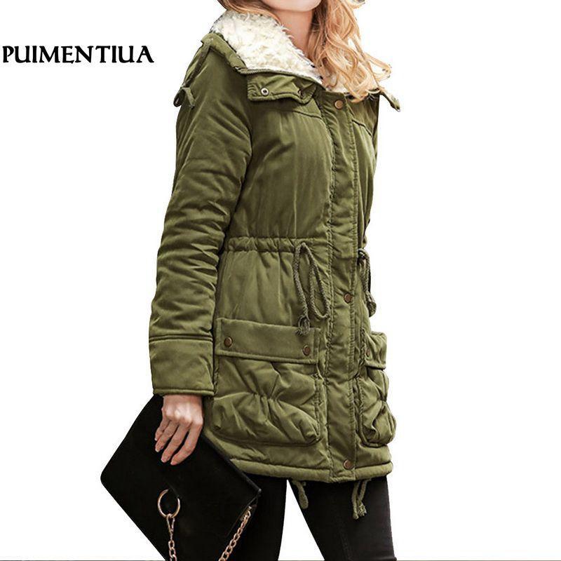 e4009f64ab223 Puimentiua Winter Warm Cotton Coat Women Slim Snow Outwear Casual ...