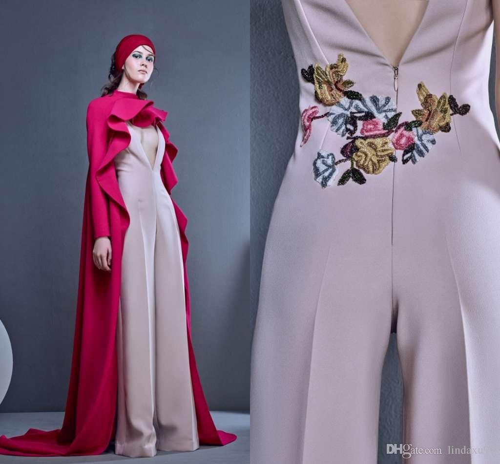 5426d63e2ddb9 Satın Al Nakış Tulumlar Pelerin Ile 2019 Yeni Gelinlik Modelleri Seksi  Derin V Boyun Örgün Abiye Giyim Ucuz Elbise Parti Giyim, $128.15 |  DHgate.Com'da