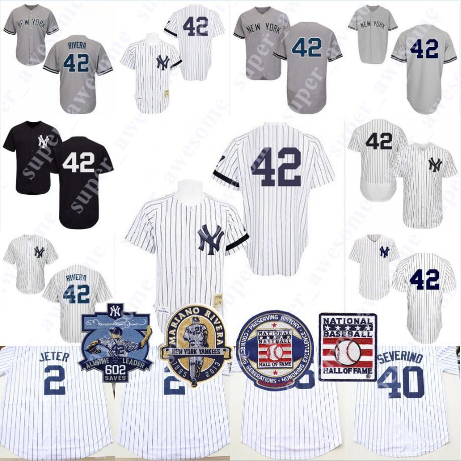 on sale a1161 405b7 New York Mariano Rivera Jersey Hall of Fame 42 Retirement 602 Saves Ptach  Yankees Baseball Jerseys White Grey Navy NO NAME