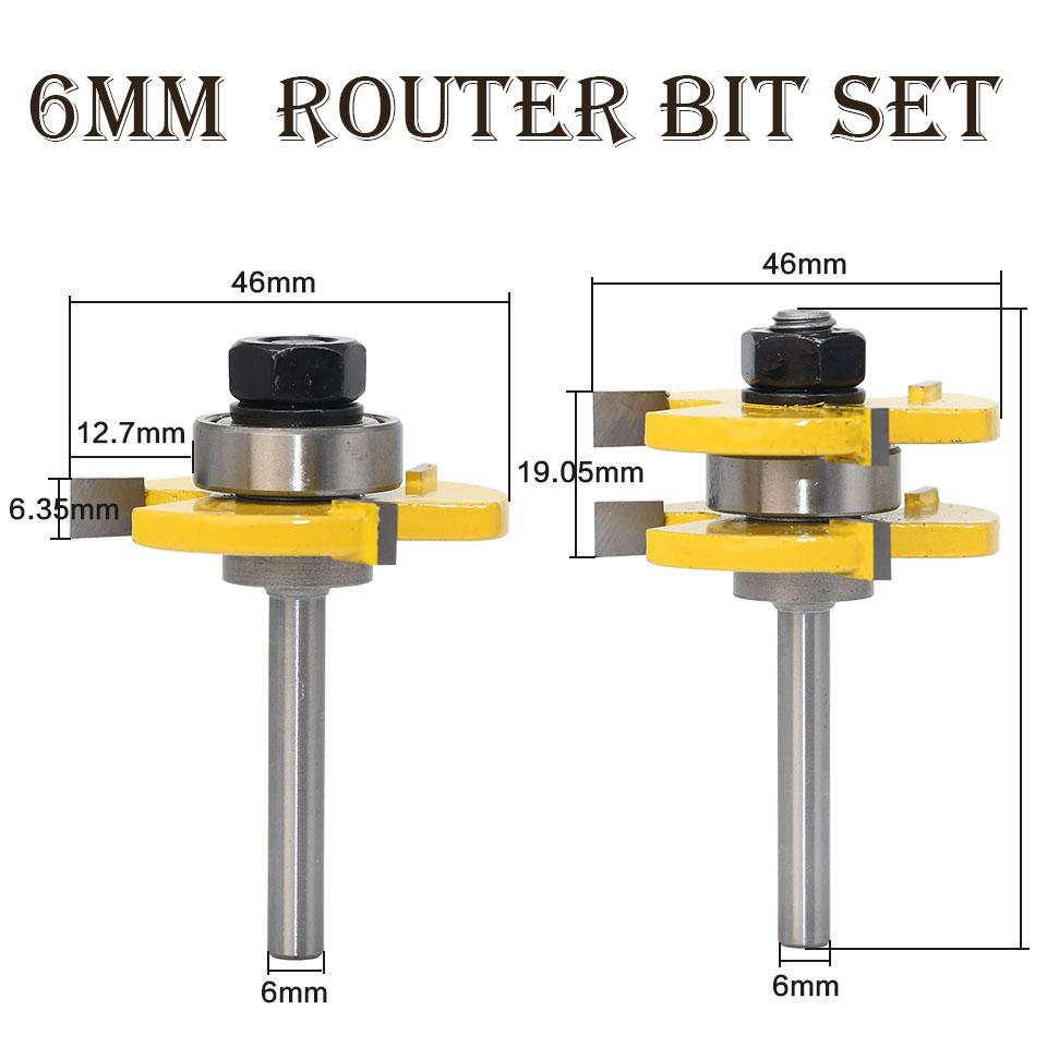 Tongue and Groove Milling Cutter 6mm Router Bit Set Woodworking Tool Engraving Carving Trimming CNC End Mill