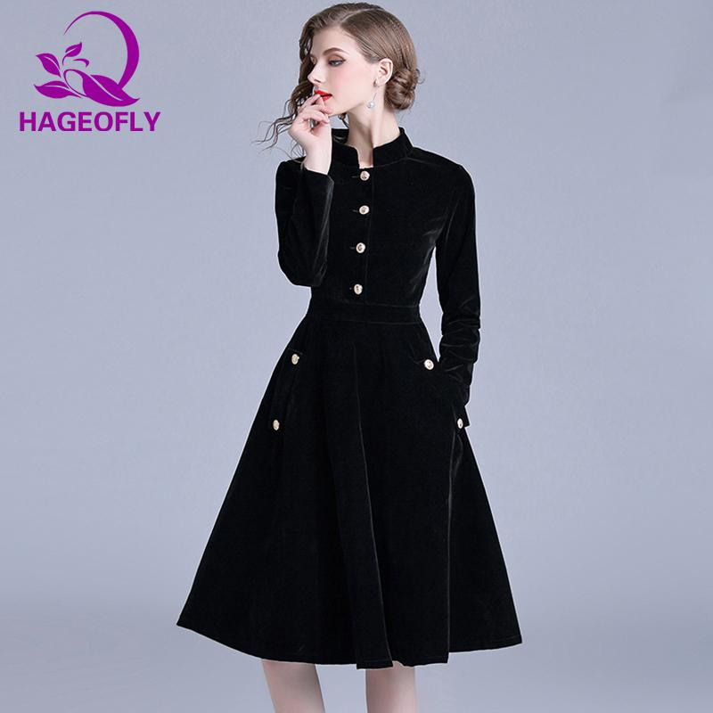 c01cfcdf71e453 Hageofly Autumn New Vintage Velvet Dress Long Sleeve Ball Gown Dresses  Elegant Celebrity Evening Party Vestidos Women's Clothing Y190425