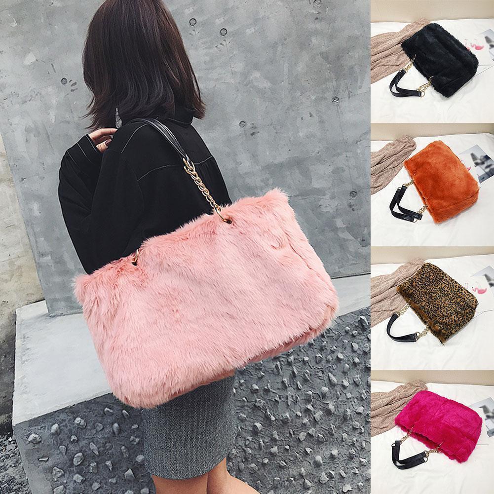 3eccf4ab953b Nice Winter Faux Fur Handbags Women Shoulder Bags Solid Casual Tote Bag  Fashion Leopard Handbag Chain Bag Bolsa Feminina Luxury Handbags Leather  Handbag ...