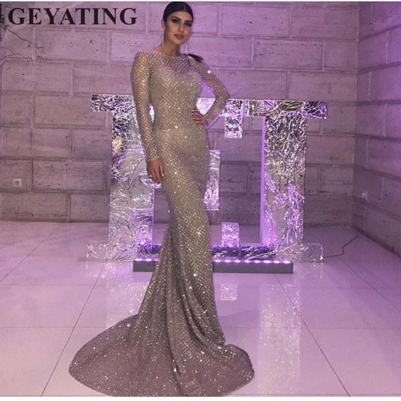 3dd2939b23 Glitter Silver Gold Sequins Evening Dress Long Sleeves Bodycon Elegant  Women Formal Dress 2019 Saudi Arabia Dubai Prom Dresses Y19042701