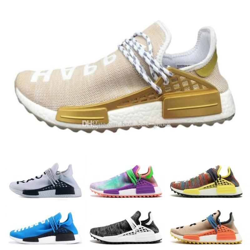d61ab2229cc48 2019 PW Human Race Trail Running Shoes Men Women Pharrell Williams HU  Runner Yellow Black White Red Green Grey Blue Sports DESIGNER Sneaker Tenis  From ...