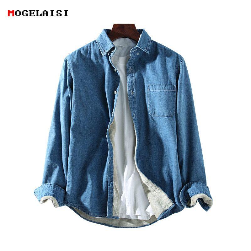 Velours Chemise Polaire Homme Hiver Vêtements Robe Chemises Jeans Camisa Hommes Chaude Masculina Jrn004 5R4AjL