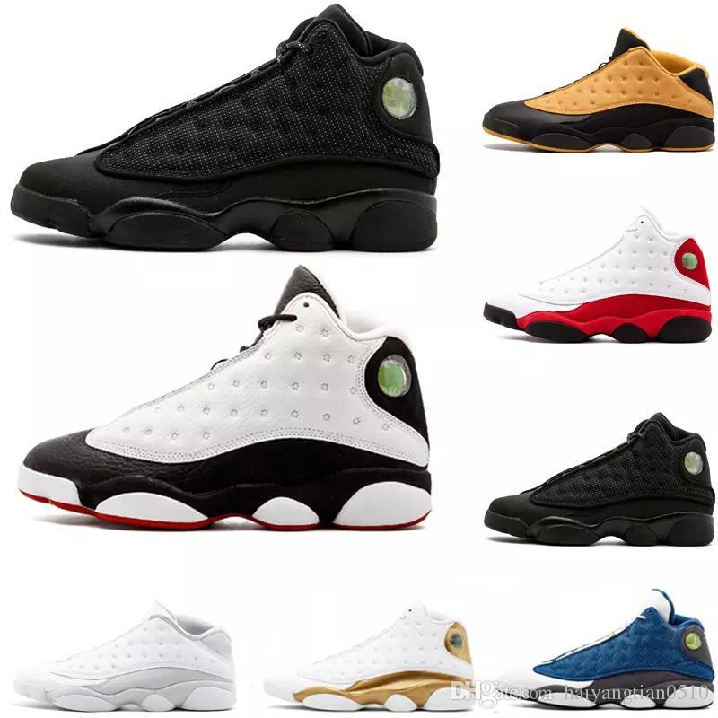 reputable site cc064 61dee Großhandel Nike Air Jordan Aj13 Günstige Neue Top Qualität 13 13 S Männer  Frauen Basketball Schuhe Gezüchtet Schwarz Braun Blau Weiß Hologramm Flints  Grau ...