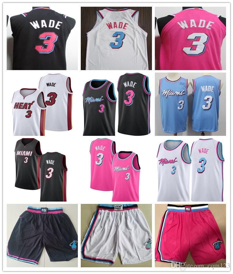 on sale 7a836 2ceec Men s Miami Dwyane 3# Wade Blue Pink Black 2019 City Swingman Basketball  Jersey shorts Embroidery Wade shirt Stitched Free Shipping