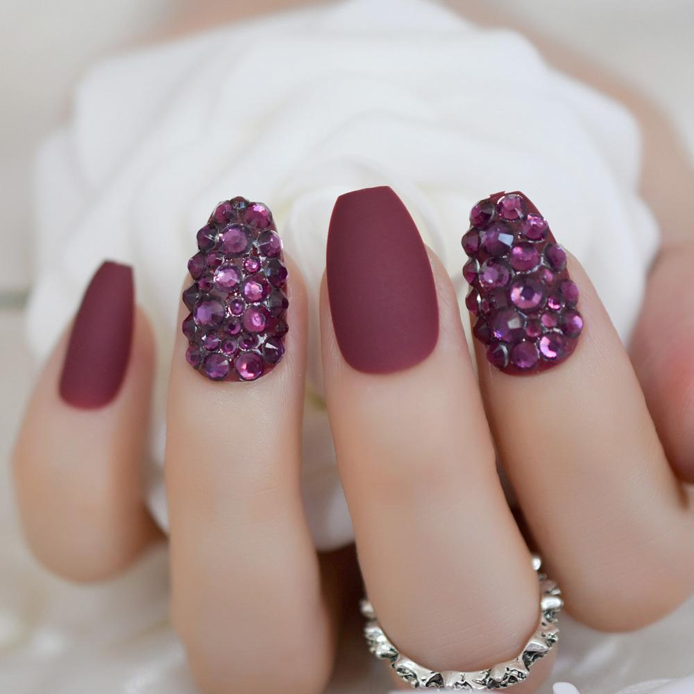 2019 Diamond Coffin Nails Set Crystal Press On Matte Marvel Red Medium  False Nails Custom
