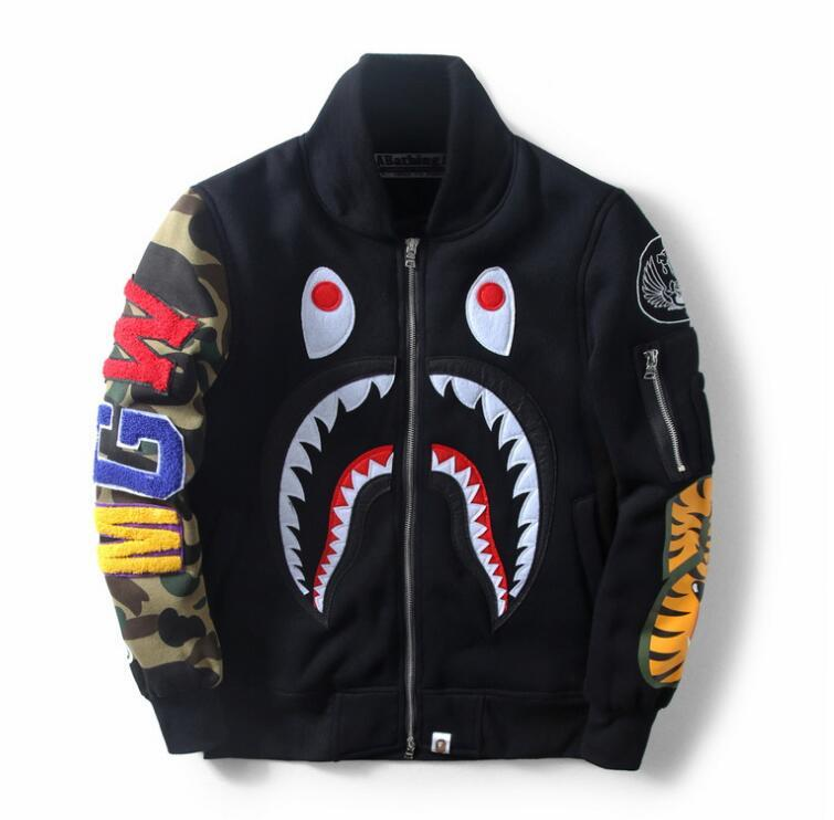 size 40 27268 83a9f BAPE Adidas Supreme 2017 autumn European and American hot selling new men's  baseball suit shark jacket