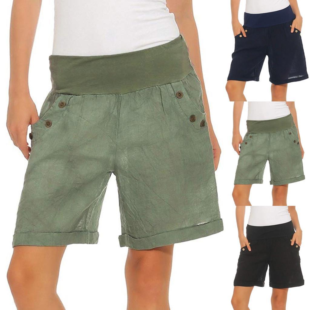 nuovo concetto 71cea c2109 Pantaloncini da donna a vita alta casual elasticizzati a vita alta con  bottoni