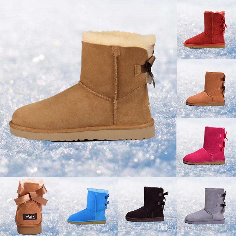 pretty nice 68023 a1c8c Ugg Australia Stivali da neve invernali classici in pelle di marca, scarpe  calde da esterno per donna, stivali al ginocchio da bambina design blu ...