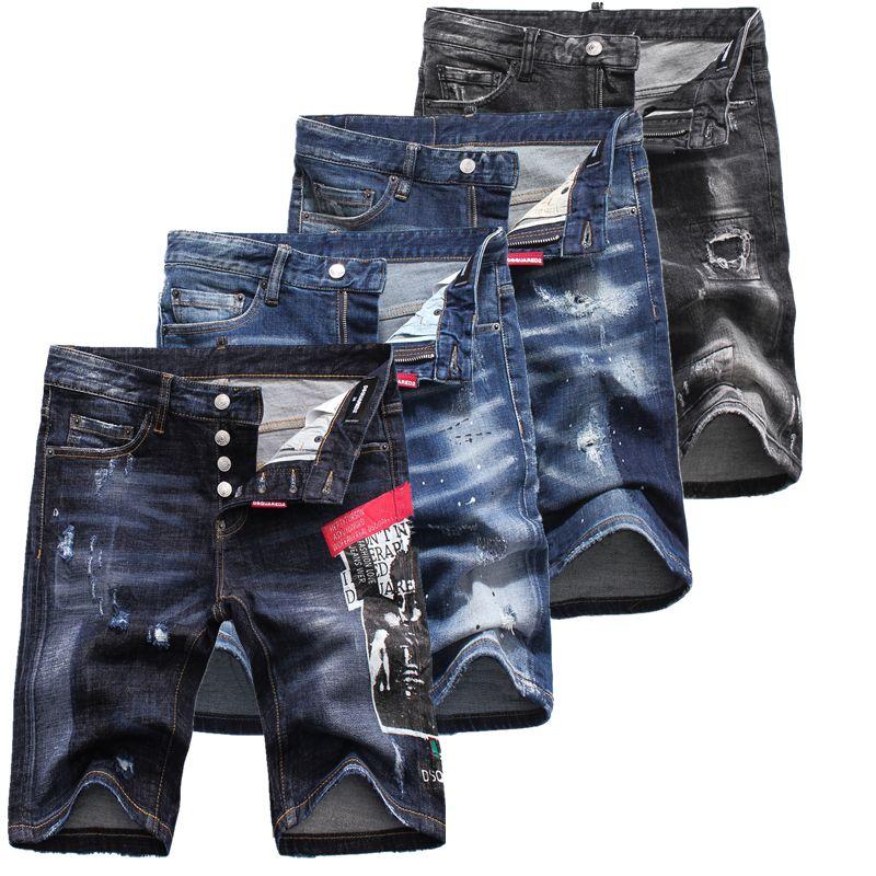 46e948859c 2019 Men's Distressed Ripped Skinny Fashion Designer Shorts Slim ...
