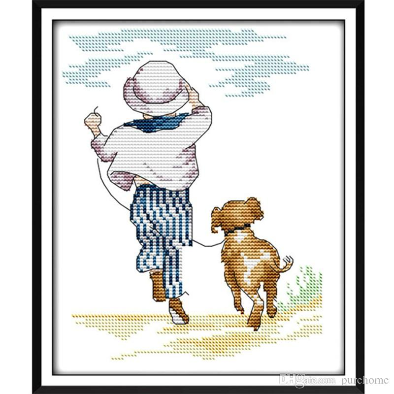 Boy and Dog Cartoon Pattern Counted Cross Stitch 11 14CT Embroidery Kits Painting Gift DIY Needlework DMC Set Living Room Home Wall Decor